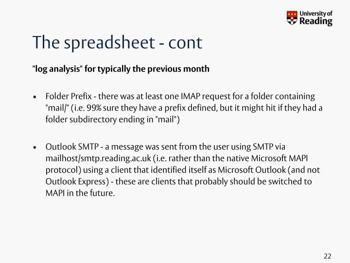 The spreadsheet - cont
