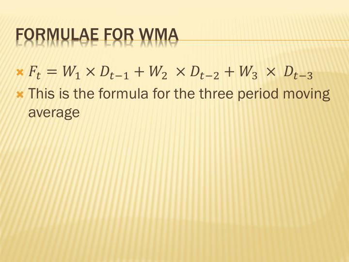 This is the formula for the three period moving average
