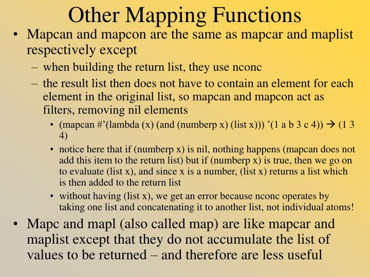 Other Mapping Functions