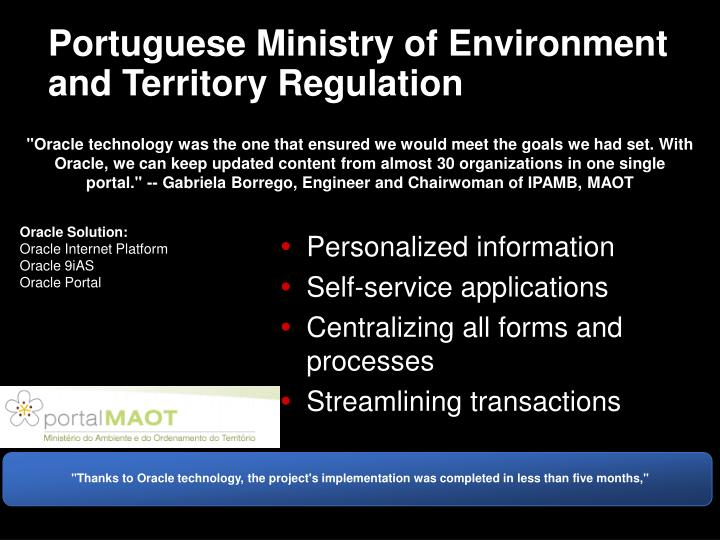 Portuguese Ministry of Environment and Territory Regulation