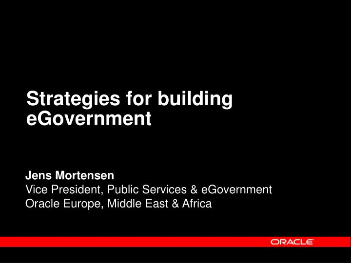Strategies for building eGovernment