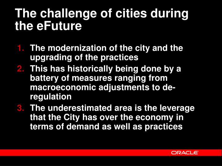 The challenge of cities during the eFuture