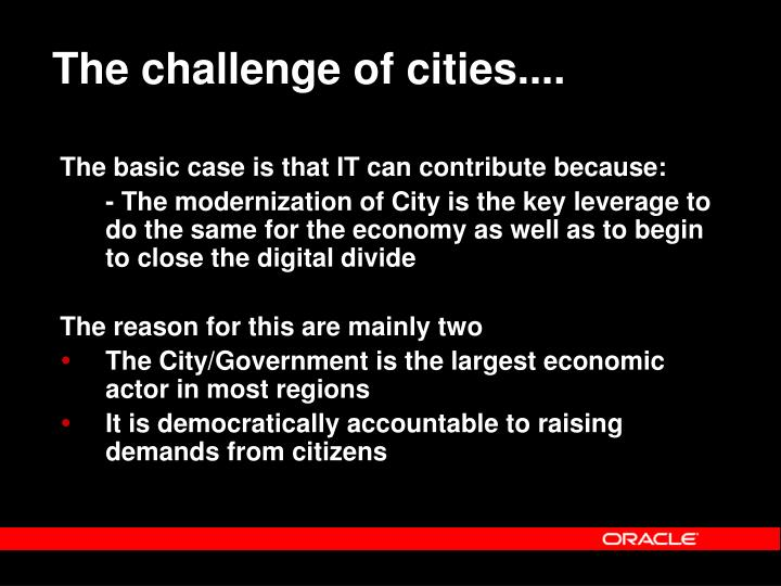 The challenge of cities....