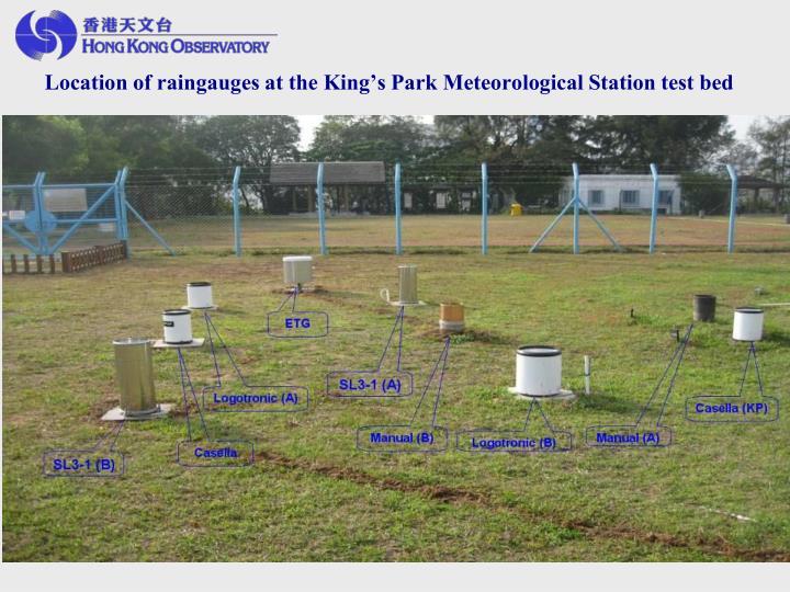 Location of raingauges at the King's Park Meteorological Station test bed