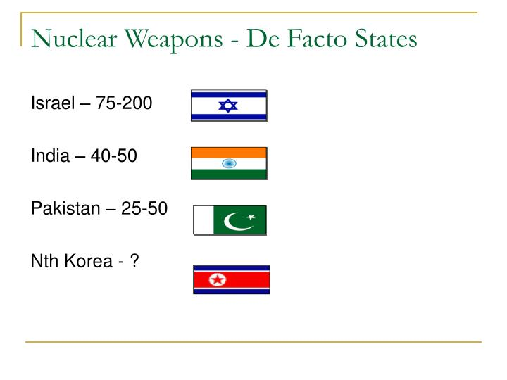 Nuclear Weapons - De Facto States