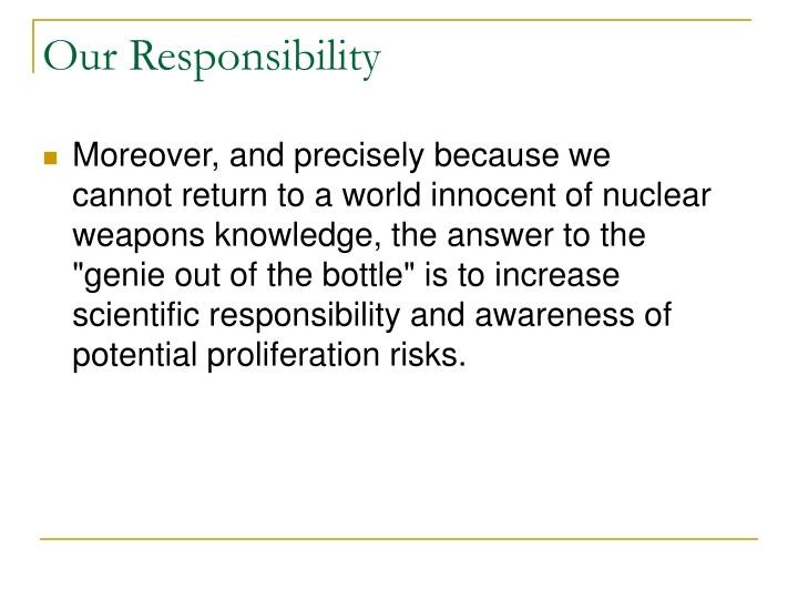 Our Responsibility