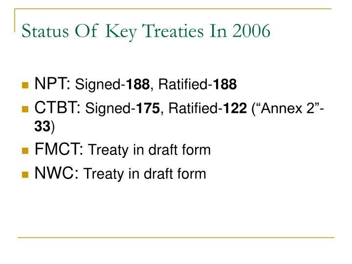 Status Of Key Treaties In 2006