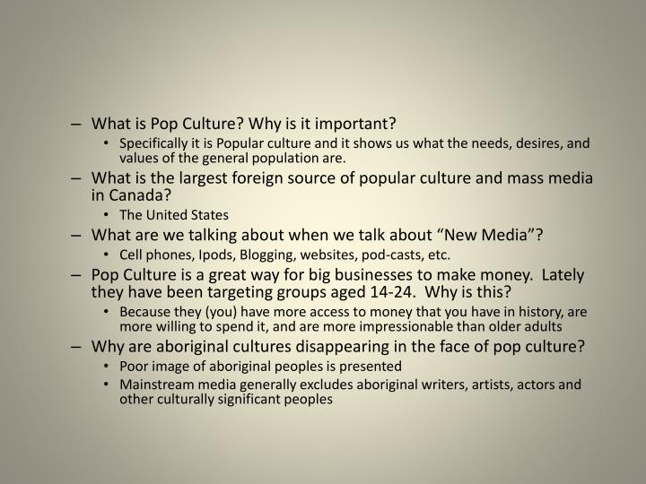 What is Pop Culture? Why is it important?