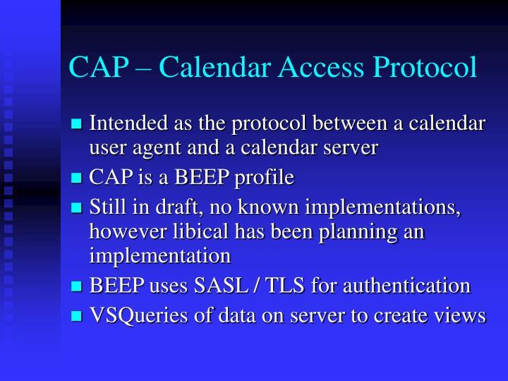CAP – Calendar Access Protocol