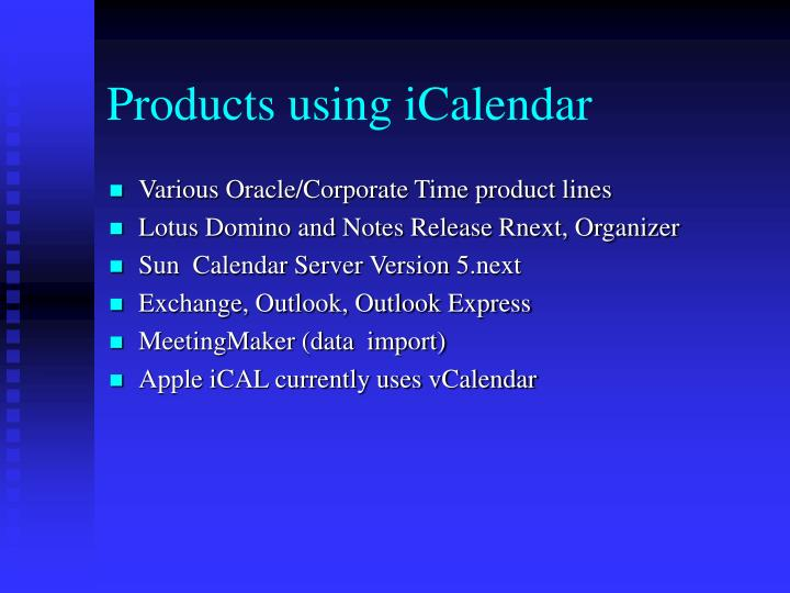 Products using iCalendar