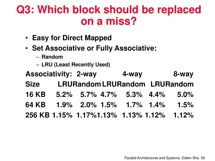 Q3: Which block should be replaced on a miss?
