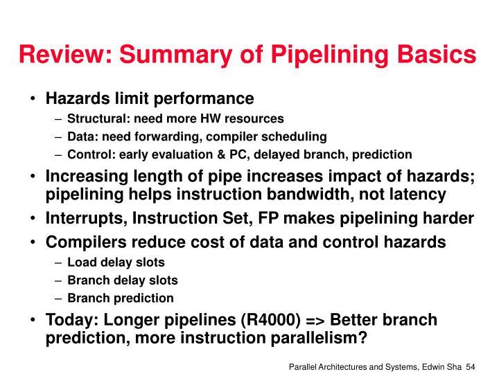 Review: Summary of Pipelining Basics