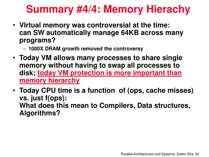 Summary #4/4: Memory Hierachy