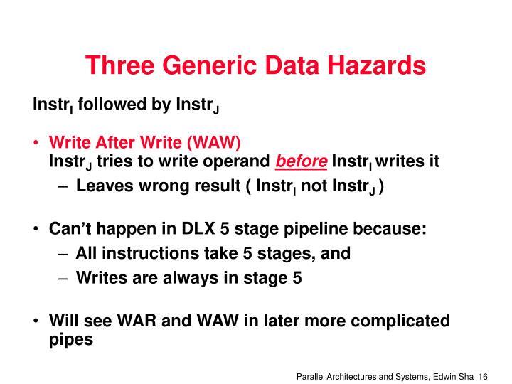 Three Generic Data Hazards