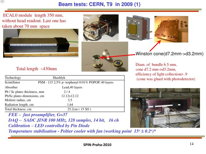 Beam tests: CERN, T9  in 2009 (1)