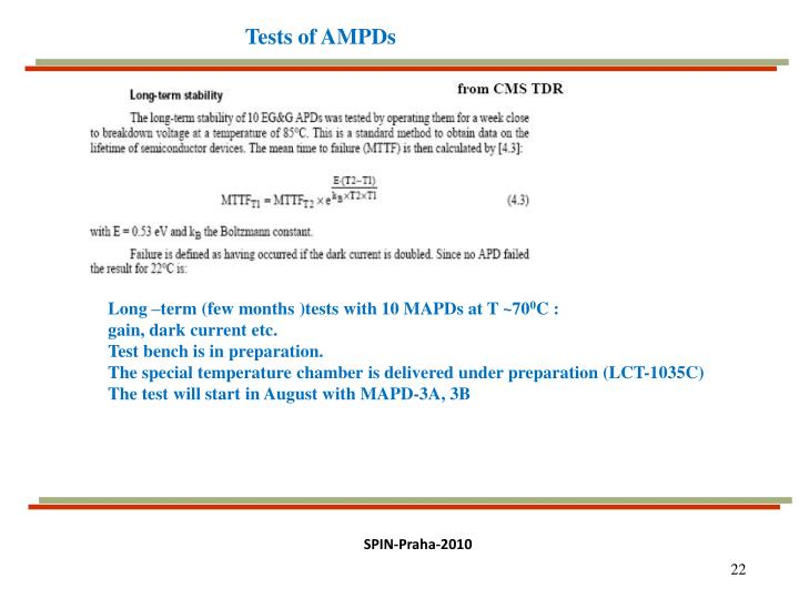 Tests of AMPDs
