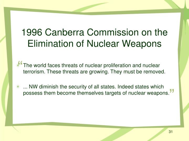 1996 Canberra Commission on the Elimination of Nuclear Weapons