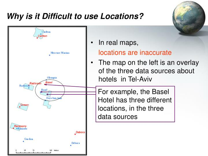For example, the Basel Hotel has three different locations, in the three data sources