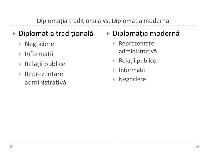 Diplomația tradițională vs. Diplomația modernă