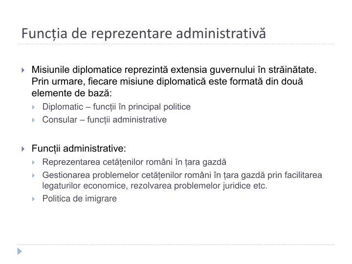 Funcția de reprezentare administrativă