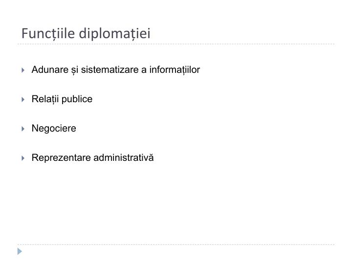 Funcțiile diplomației