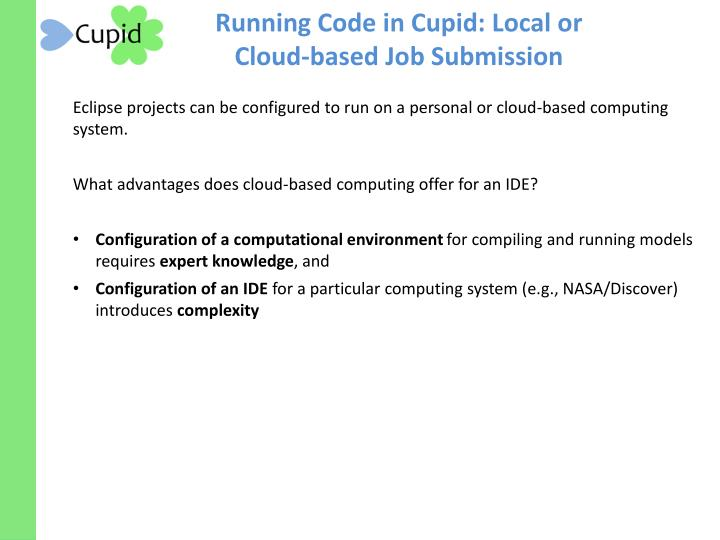 Running Code in Cupid: Local or