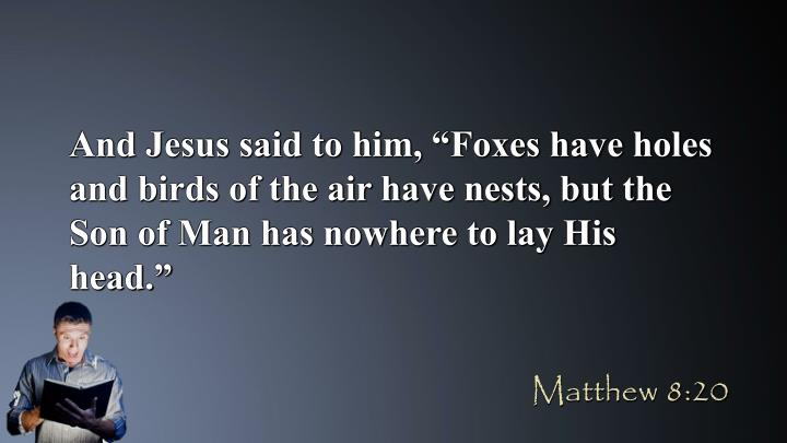 "And Jesus said to him, ""Foxes have holes and birds of the air have nests, but the Son of Man has nowhere to lay His head."""