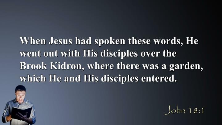 When Jesus had spoken these words, He went out with His disciples over the Brook Kidron, where there was a garden, which He and His disciples entered.