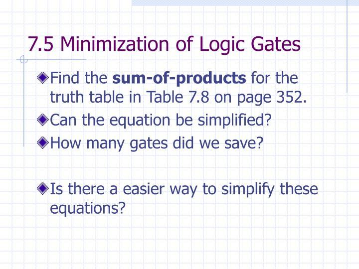 7.5 Minimization of Logic Gates