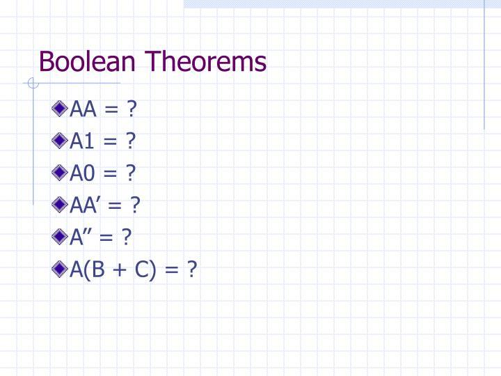 Boolean Theorems