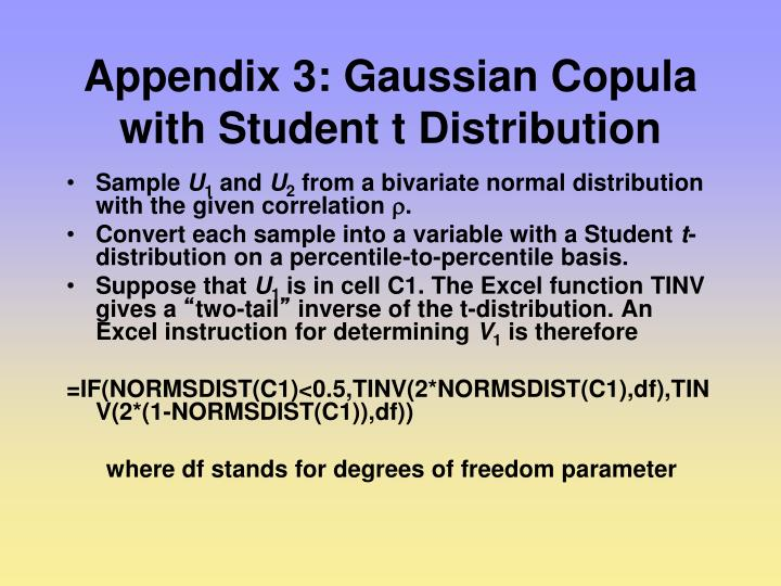 Appendix 3: Gaussian Copula with Student t Distribution