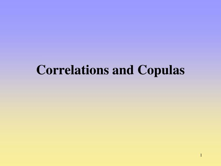 correlations and copulas