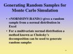 generating random samples for monte carlo simulation