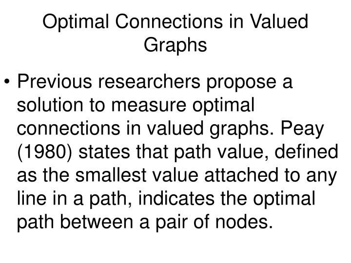 Optimal Connections in Valued Graphs