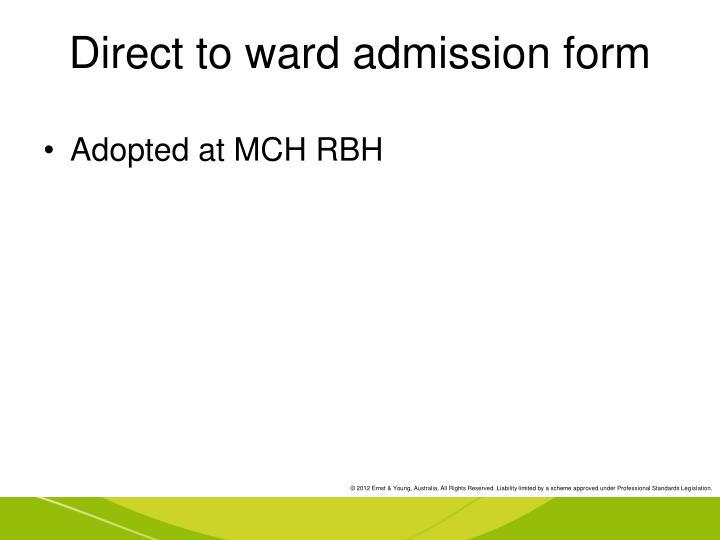Direct to ward admission form