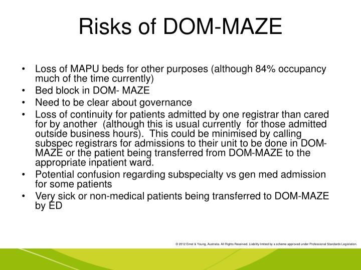 Risks of DOM-MAZE