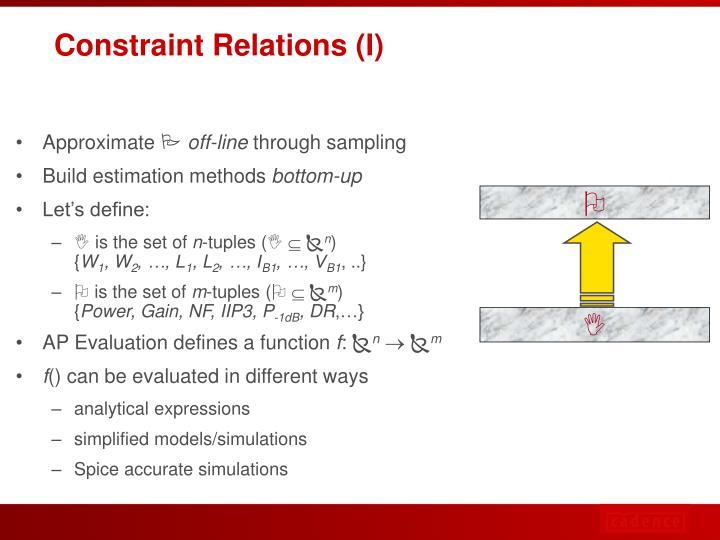 Constraint Relations (I)