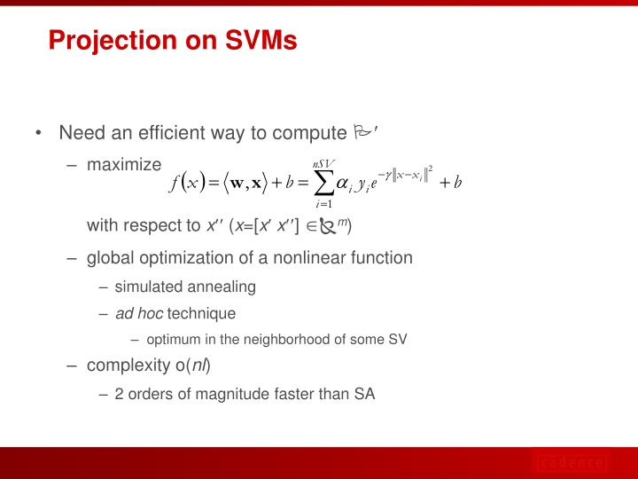 Projection on SVMs