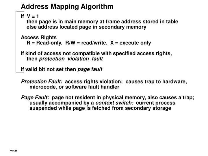 Address Mapping Algorithm