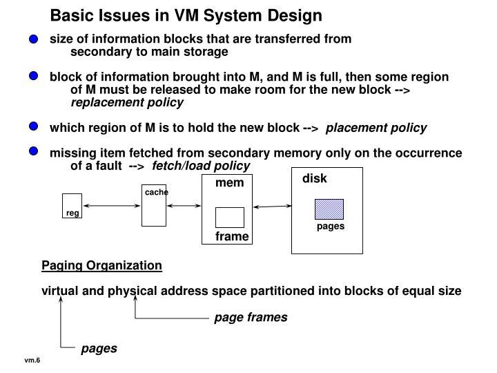 Basic Issues in VM System Design