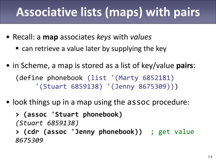Associative lists (maps) with pairs