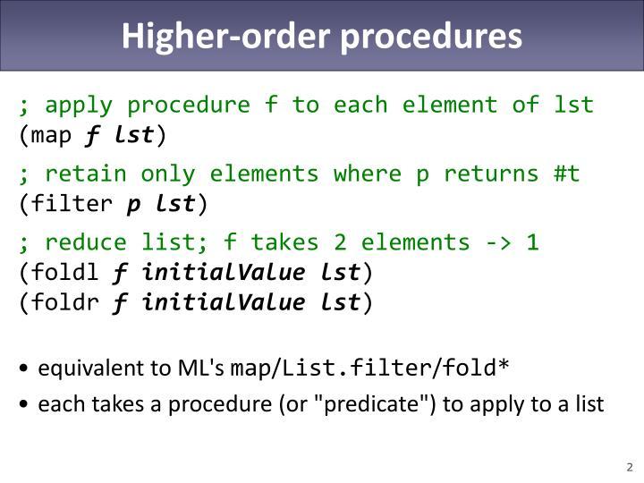 Higher-order procedures