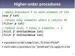 higher order procedures