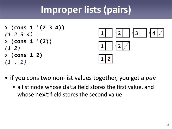 Improper lists (pairs)