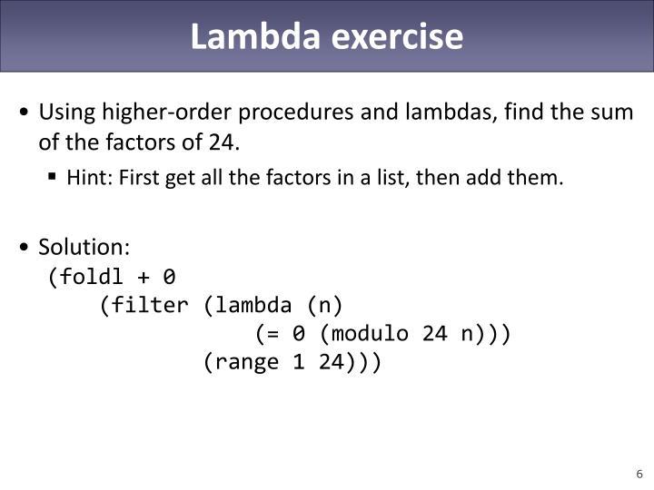 Lambda exercise
