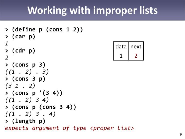 Working with improper lists