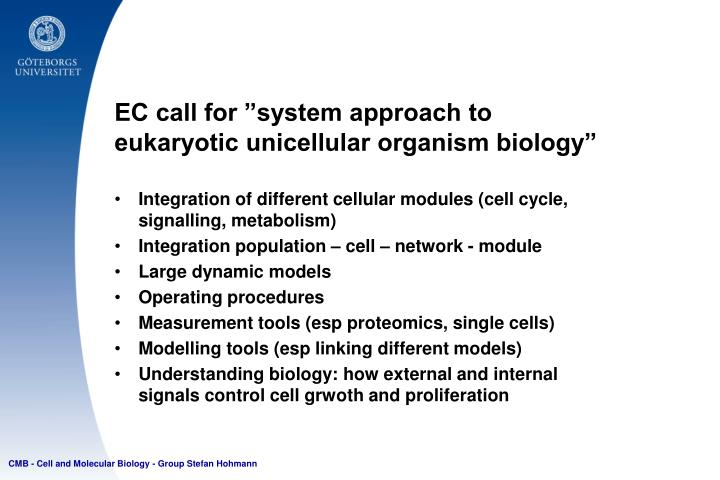 """EC call for """"system approach to eukaryotic unicellular organism biology"""""""