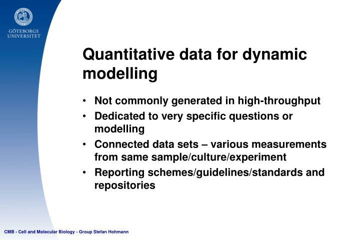 Quantitative data for dynamic modelling