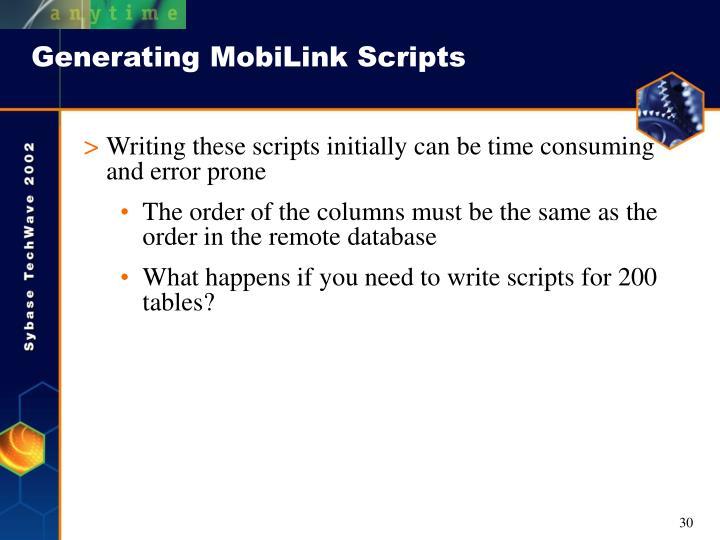 Generating MobiLink Scripts