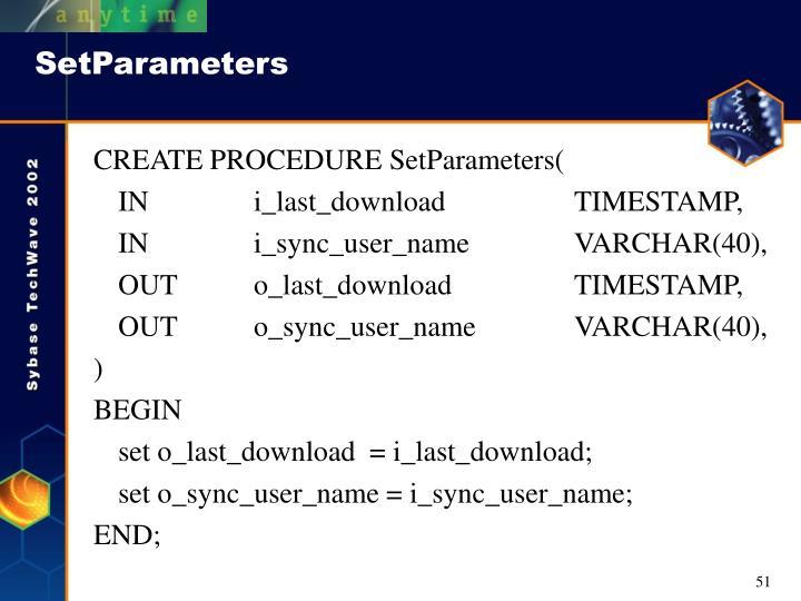 SetParameters